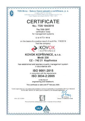ISO 9001:2015 ČSN EN ISO 3834-2:2005 1 page - english