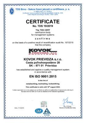 ČSN EN ISO 9001:2016 ČSN EN ISO 3834-2:20052str.